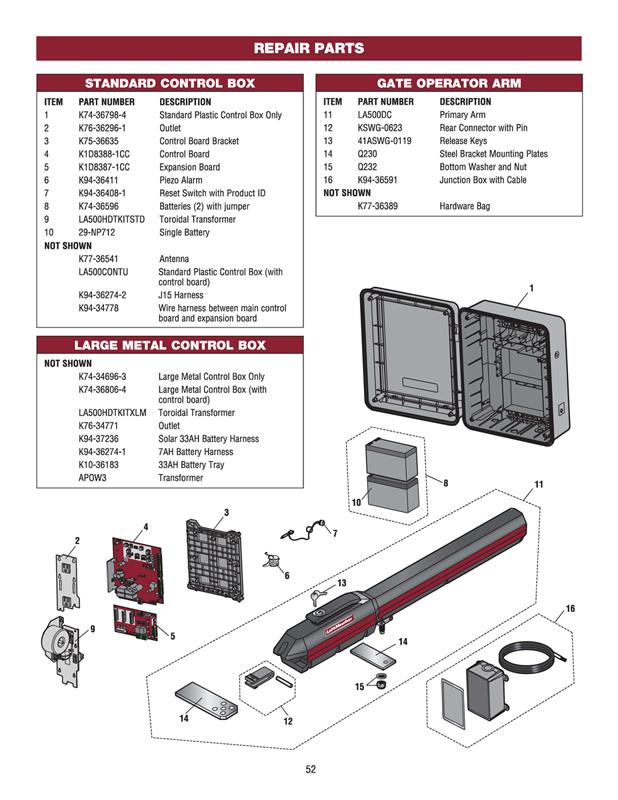 Liftmaster Single Gate Actuator Kit | LA500